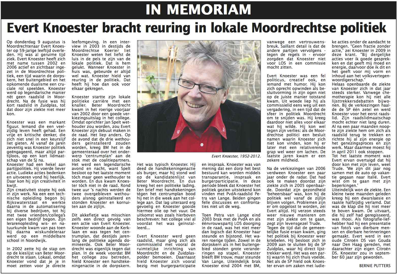 In Memoriam: Evert Knoester
