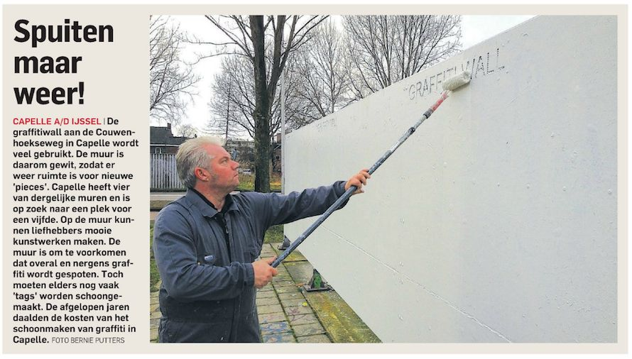 Graffitiwall weer wit
